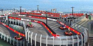 "The ""Norwegian Joy"" cruise ship docked in Shanghai features 2-story Ferrari-branded racetrack"