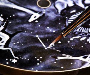 Grisaille enamel painting for Van Cleef & Arpels's Midnight Nuit Boréale