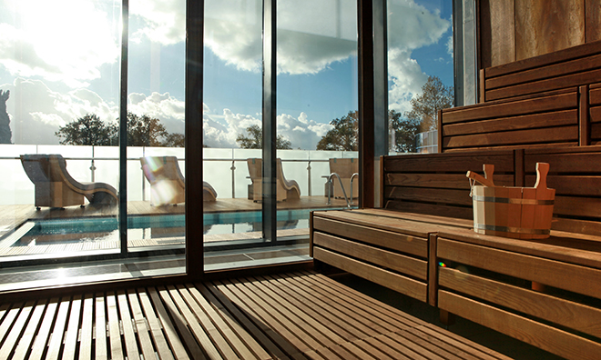 Aqua Platinum sauna with a view of the pool outside.