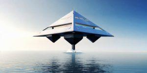 Floating superyacht designed by Jonathan Schwinge: HYSWAS Tetrahedron Super Yacht